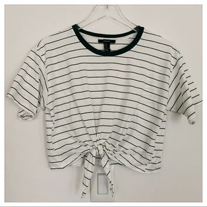 Cropped Striped Forever 21 T-shirt